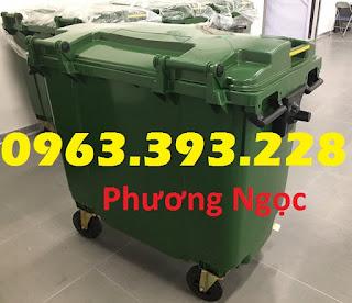 Xe đẩy rác 660 lít 4 bánh, xe gom rác công nghiệp, thùng rác 660L nhựa HDPE XR660L4B1