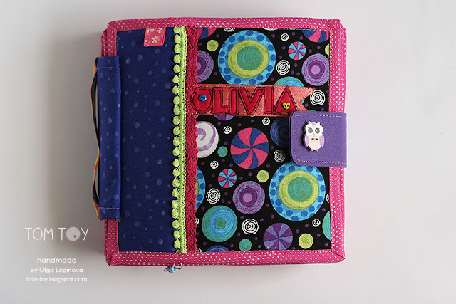 Quiet book for Olivia. Handmade busy cloth book for a girl, развивающая книжка