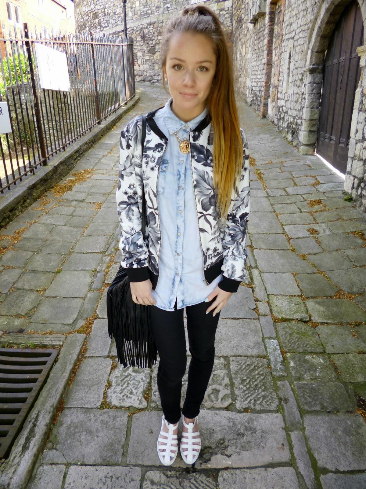 Ootd Floral Bomber Jacket Sleek Chic