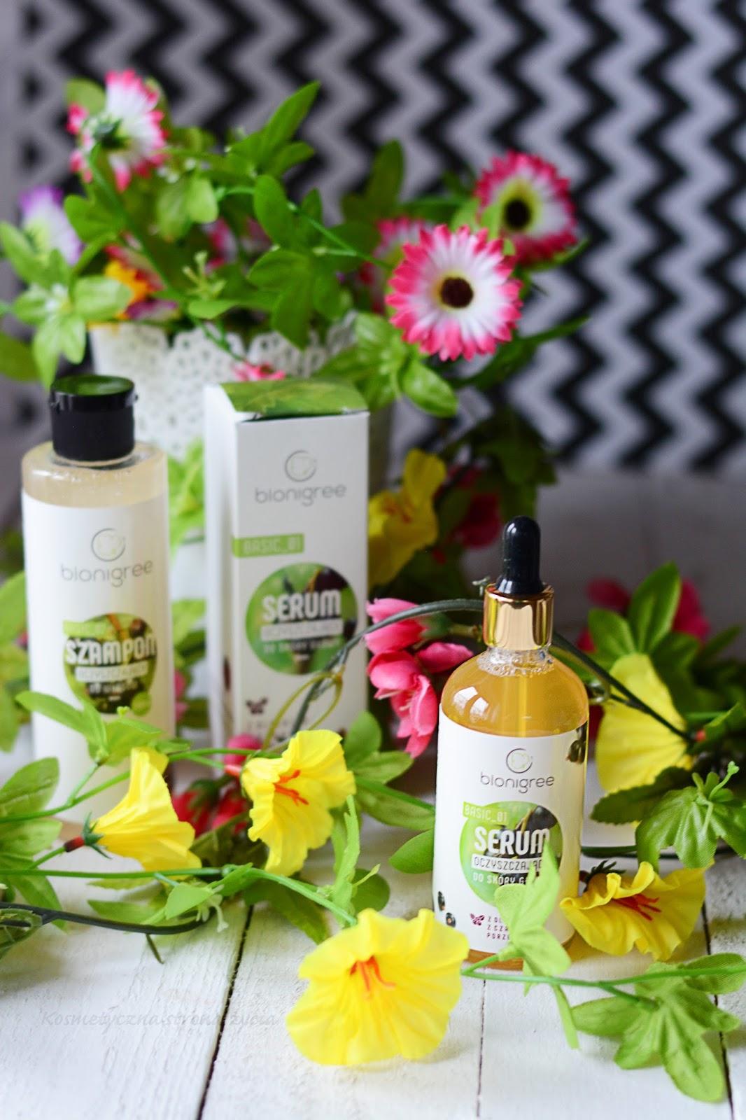 Oczyszczający szampon do włosów oraz serum oczyszczające do skory głowy Bionigree