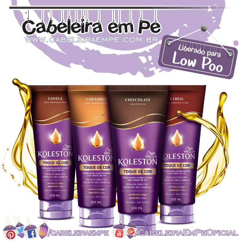 Tratamento Condicionador Toque De Cor Chocolate, Caramelo, Canela e Cereja - Koleston  (Low Poo)