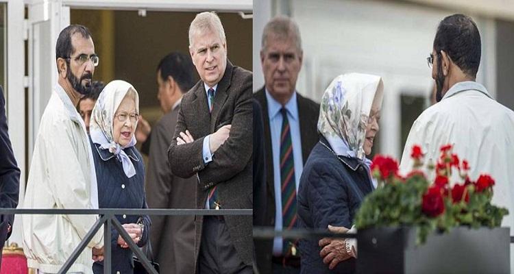 تصرف غير متوقع من ملكة بريطانيا بعد أن وضع حاكم دبي يده على كتفها