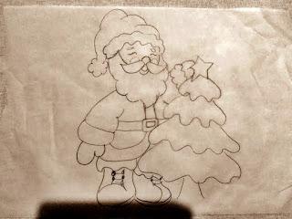 desenho papai noel para pano de copa