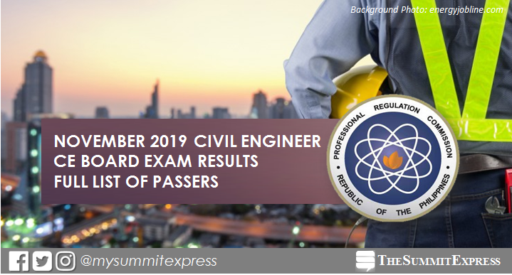 FULL RESULTS: November 2019 Civil Engineer CE board exam list of passers, top 10
