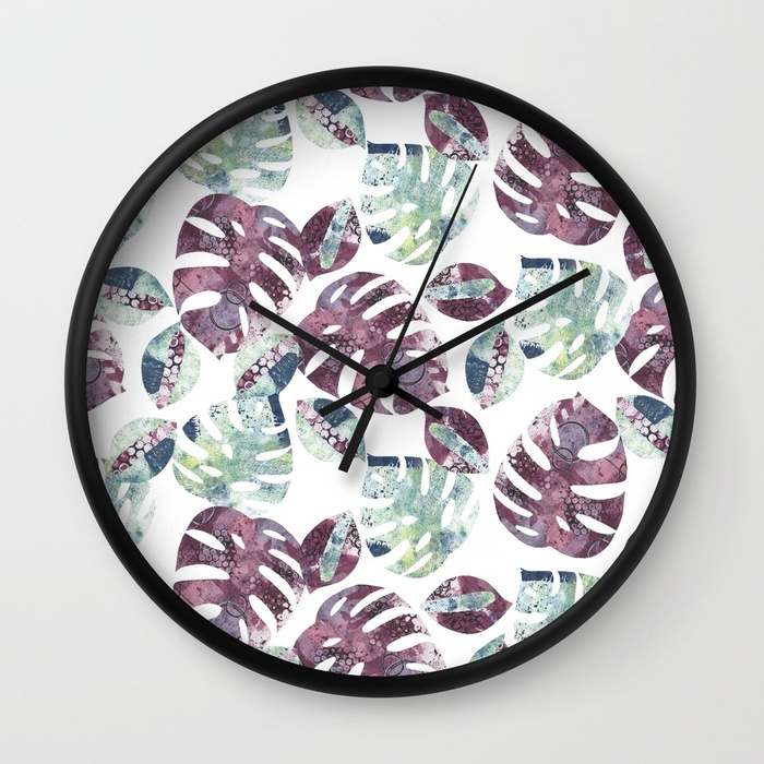 A mock up of a clock with Kim Dellow's Cheeseplant Leaf pattern