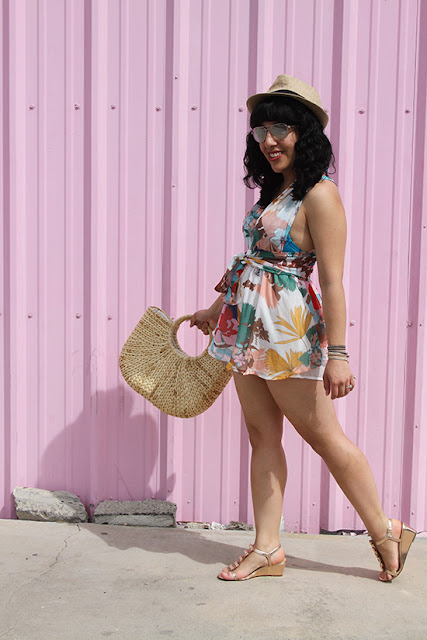 L'ATISTE Floral Romper and Straw Bag Summer Outfit | Will Bake for Shoes