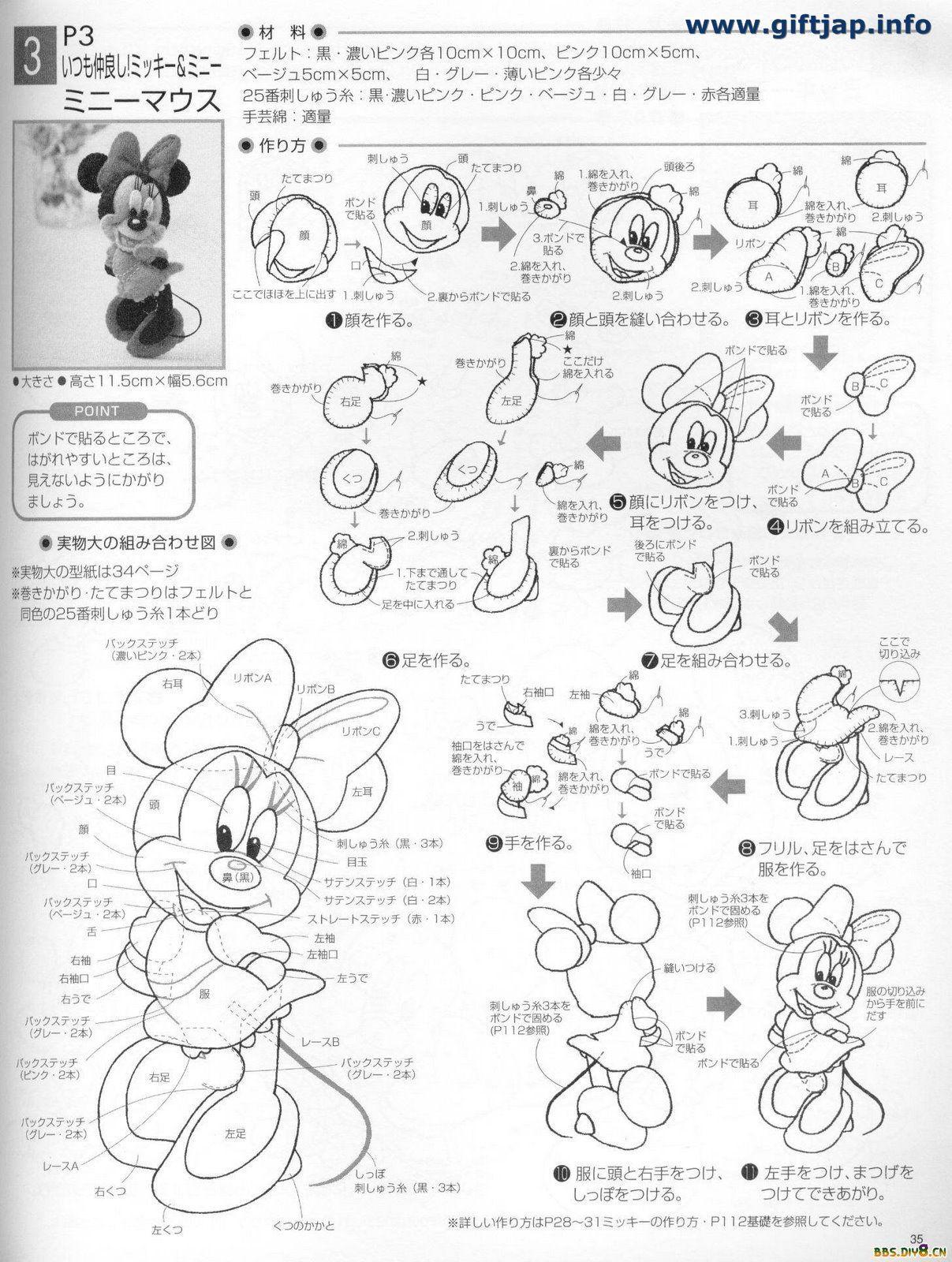 Plantillas Broches de Fieltro Walt Disney