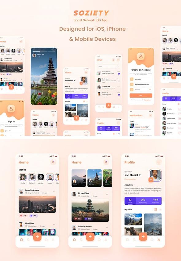Social Network iOS App Design Template