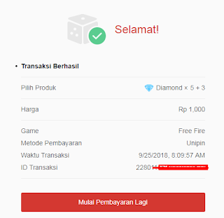 Top up Diamond Free Fire 1000 rupiah