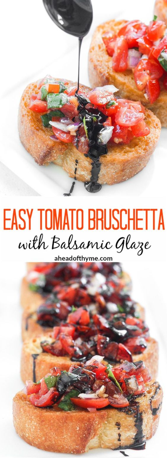 EASY TOMATO BRUSCHETTA WITH BALSAMIC GLAZE
