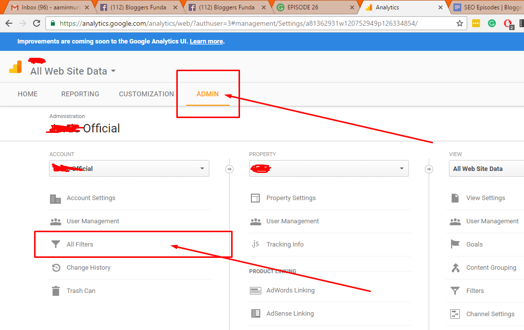 """Step 2: Click """"Admin"""" then click """"All Filters"""" as shown here"""