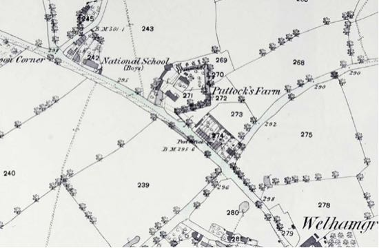 Screen grab of 1873 25 inch OS map showing the location of the National School and also the recently built Post Office in Post Office Row, now demolished and replaced by a block of flats. NMLHS Images of North Mymms Collection