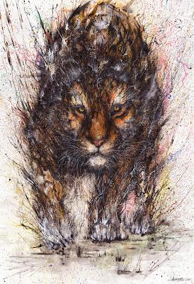 Pintura con salpicaduras contemporanea de tigre