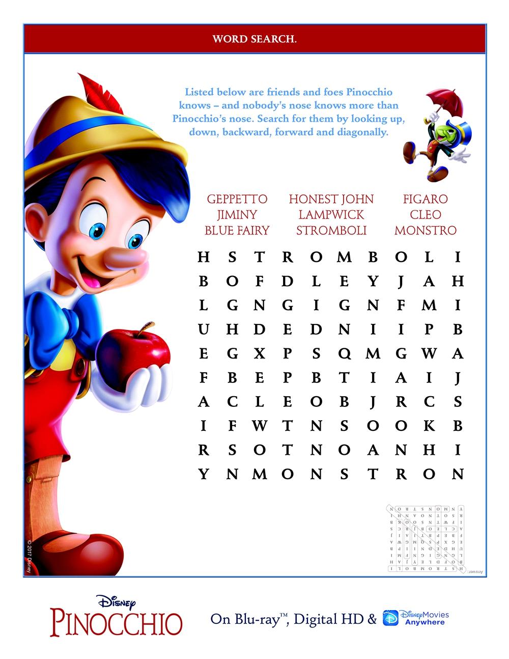Pinocchio Activity Coloring Sheets Babushka S Baile