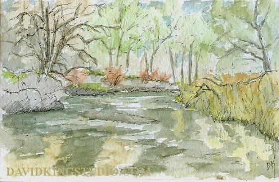 art sketch pen watercolor plein air river nature