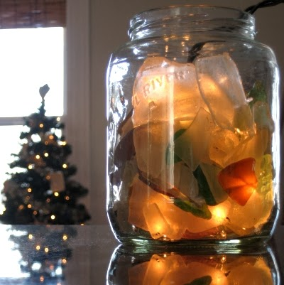 seaglass Christmas jar