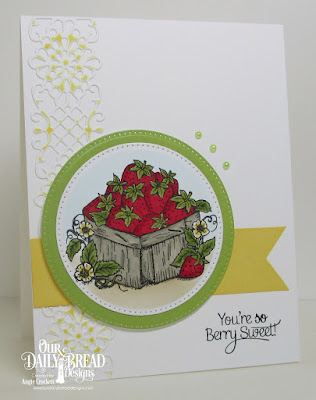 ODBD Strawberries, ODBD Custom Flower Trellis Die, ODBD Custom Pierced Circles Dies, Card Designer Angie Crockett