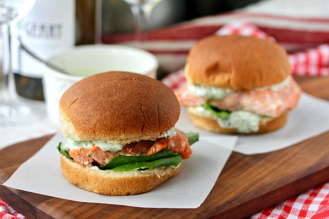 Grilled Salmon Sandwiches with Basil Dill Sauce with capers