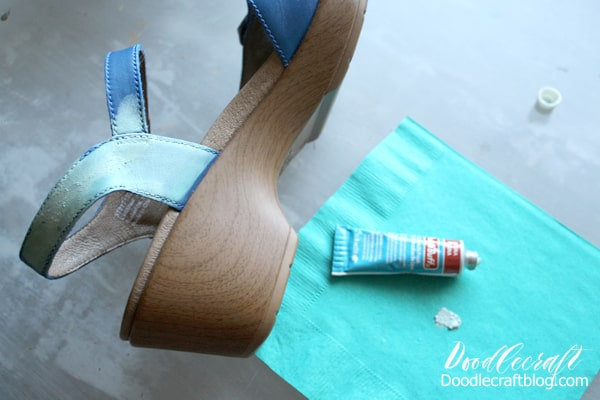 Change the colors of your shoes with Rub n Buff turquoise patina wax pigment for the perfect upcycled shoes or sandals. Works on faux and real leather, canvas, plastic and more!