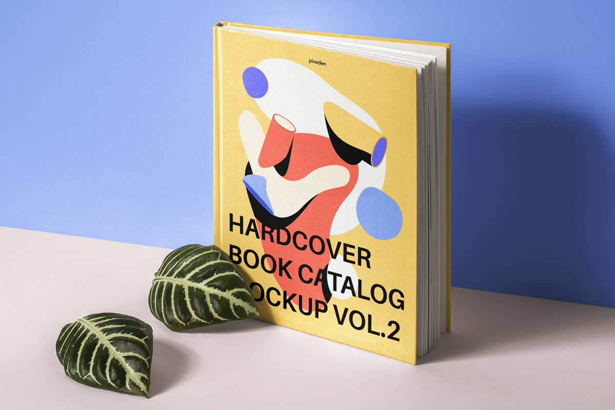Hardcover Book Catalog with Leaves Mockup