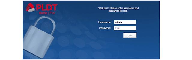 PLDT Home Fibr admin login page