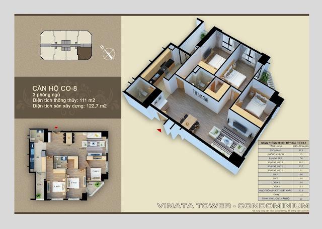 Căn hộ 08 diện tích 111 m2
