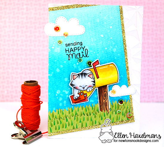 Cat in Mailbox Card by Ellen Haxelmans | Newton's Happy Mail stamp set by Newton's Nook Designs #newtonsnook #happymail