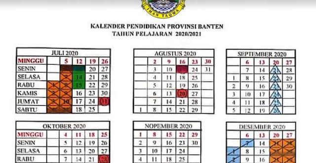 Kalender Pendidikan Tahun 2020/2021 Provinsi Banten
