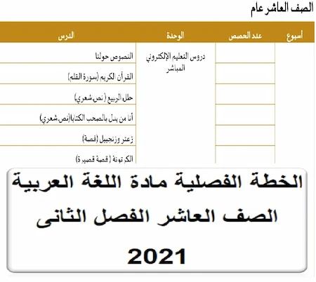 الخطة الفصلية مادة اللغة العربية الصف العاشر الفصل الثانى 2021