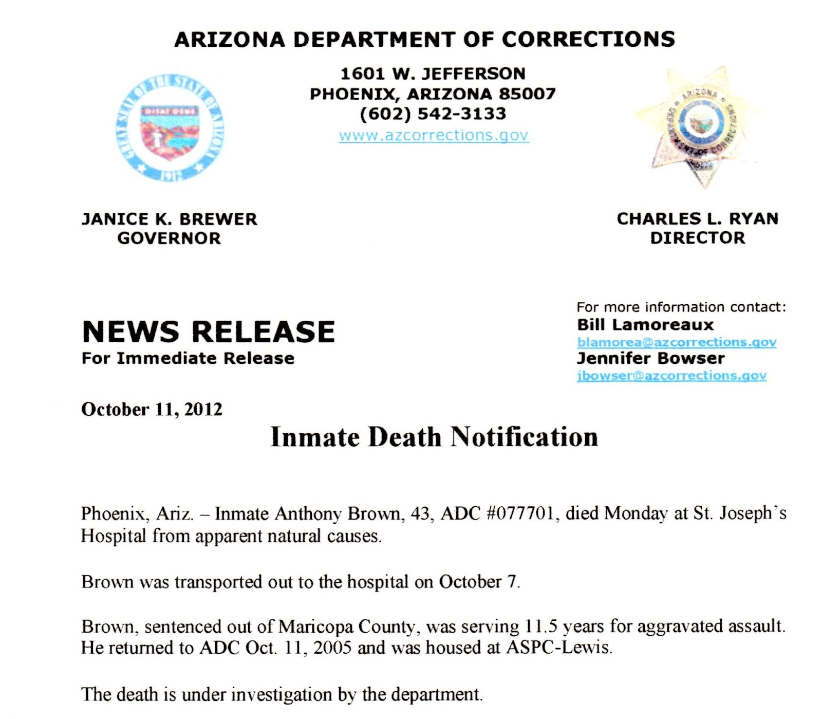 Survivors of Prison Violence - Arizona: October 2012