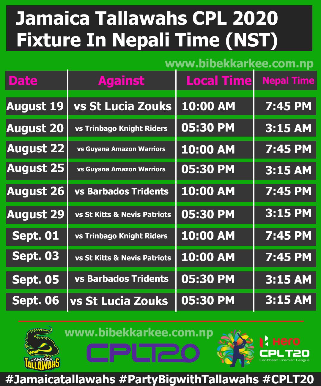 Jamaica Tallawahs CPL 2020 Full Match Schedule in Nepali Time, CPL Fixture in nepali time, Sandeep Lamichhane in cpl 2020, Sandeep lamichhane match time in nepali time, sandeep lamichhane in cpl, cpl 2020 in nepali time,