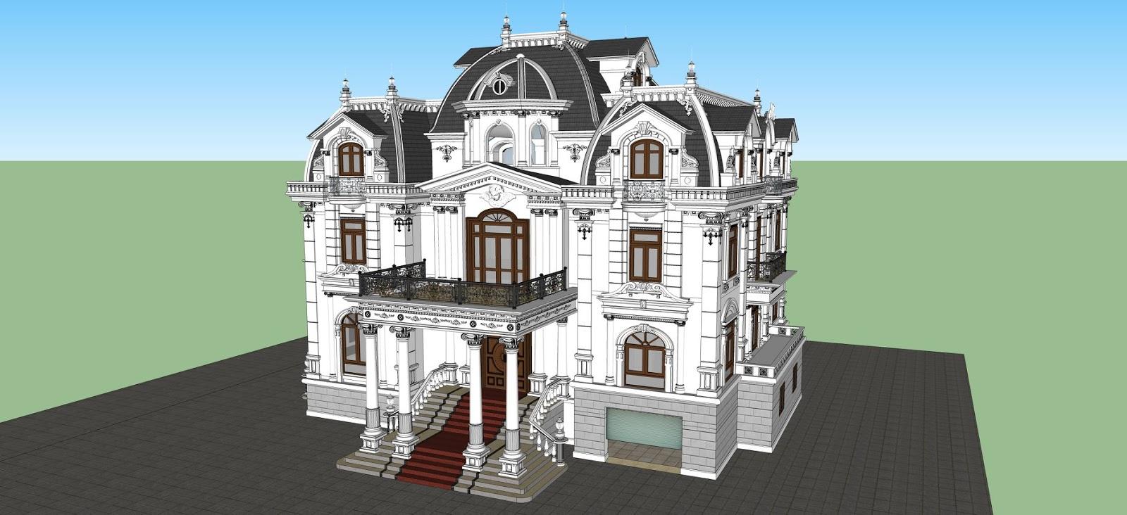 Model sketch up biệt thự cổ điển 3 tầng