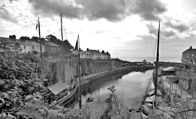 How Charlestown, Cornwall looks today in black and white.