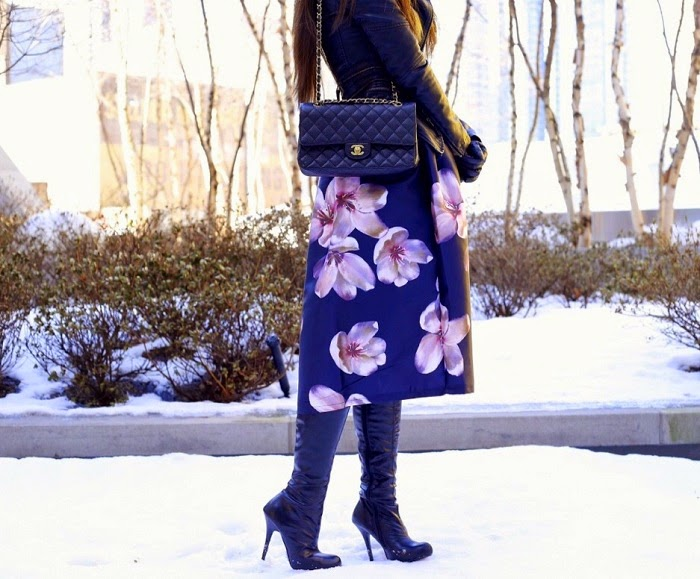 spring outfit ideas, midi skirt, onsale, leather boots, chanel bag, leather jacket, fashion blog, streetstyle, nyc, date night outfit