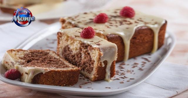 Bizcocho de mármol con cobertura de Chocolate blanco