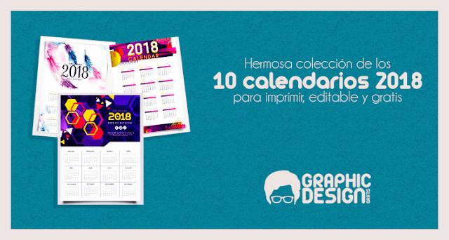 calendarios 2018 gratis de pared apra imprimir y editables