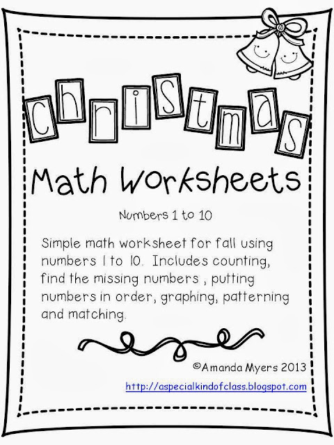A special kind of class: Christmas Math Worksheets