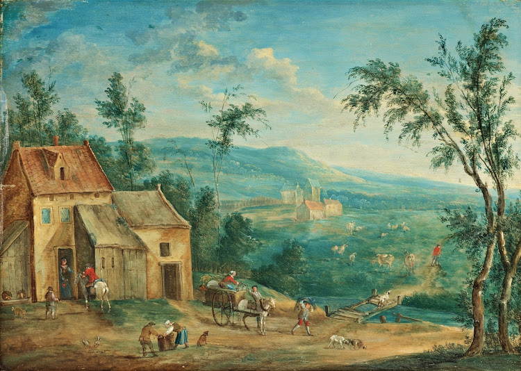 Josef van Bredael - Landskap med byggnader och figurer