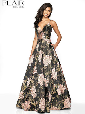 Borcade A-line Flair Prom Dress Black rose color