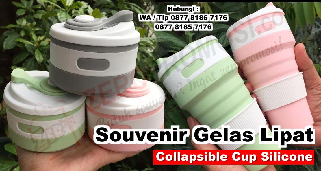 Souvenir Gelas Lipat, Collapsible Cup Silicone, Tumbler Travel Promosi, Souvenir Tumbler Lipat, Collapsible Coffe Cup