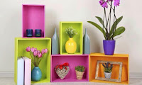 cajas de madera coloridas para decorar