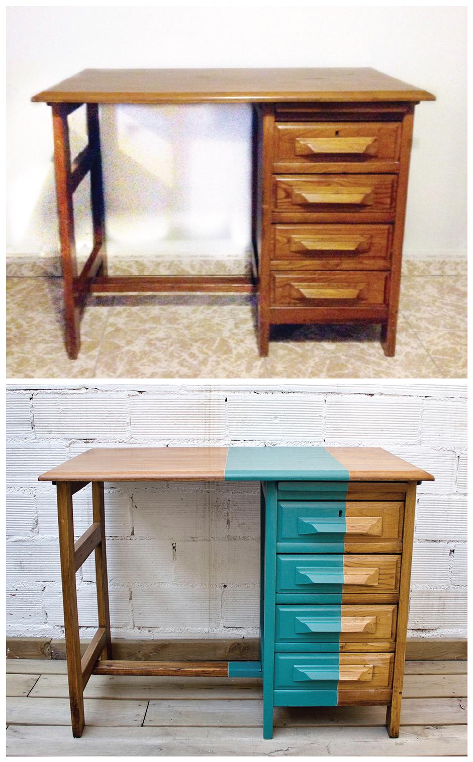 Antes y después - Un escritorio de roble con toque de turquesa- profundidades del mar