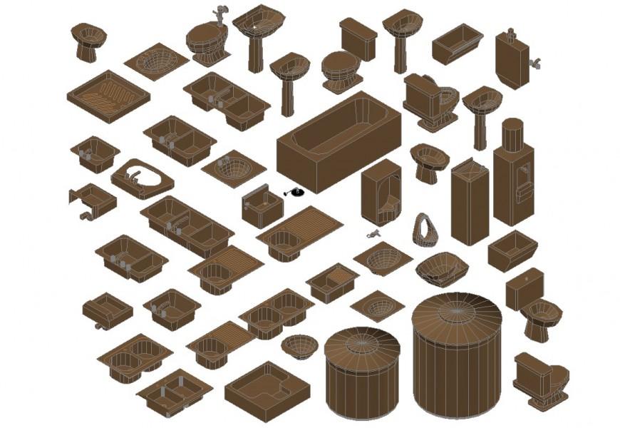 DYNAMIC MISCELLANEOUS 3D SANITARY EQUIPMENT BLOCKS CAD