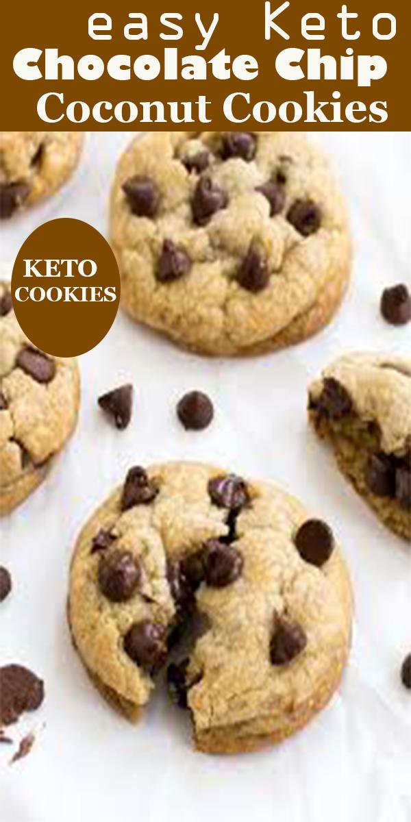 easy Keto Chocolate Chip Coconut Cookies #easy #Keto #Chocolate #Chip #Coconut #Cookies #easyKetoChocolateChipCoconutCookies