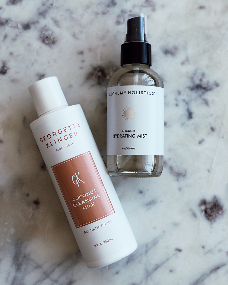 Ultimate nighttime skincare routine @heleneisfor: Georgette Klinger Cocnut Cleansing Milks, Alchemy Holistacs in Bloom Hydrating Mist