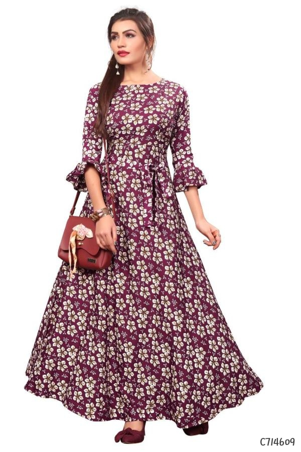 Women's Crepe Printed Gowns