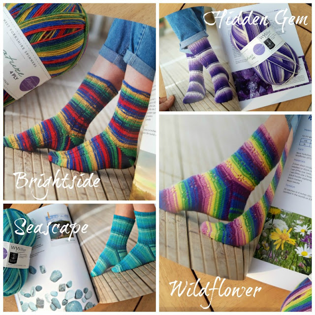A collage of four photos showing socks knitted in Winwick Mum Brightside yarn (blue, yellow, green, red and navy); Winwick Mum Hidden Gem yarn (shades of purple and ecru); Winwick Mum Wildflower yarn (blue, green, yellow, pink, purple) and Winwick Mum Seascape yarn (shades of turquoise)