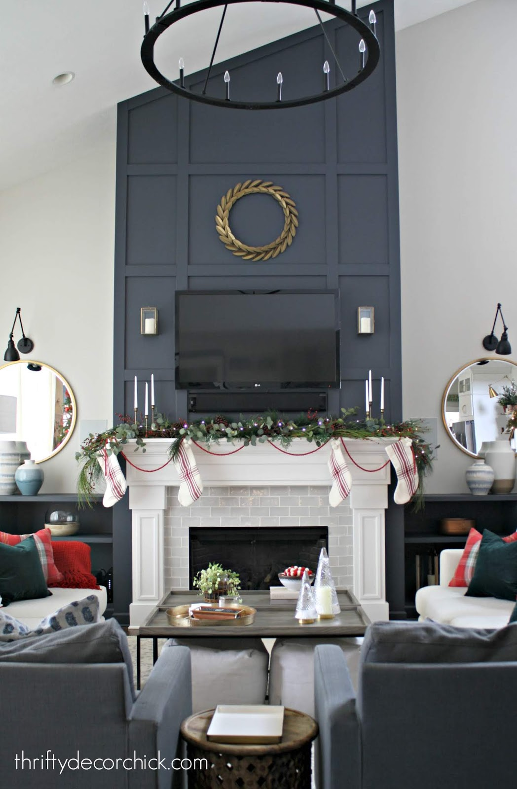 Inexpensive grid trim work on fireplace wall