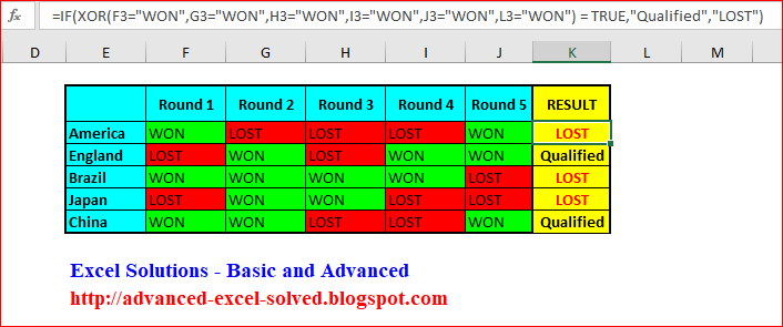 Using XOR Function in Multiple Conditions in Microsoft Excel