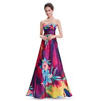 Multi Coloured Floor length Floral print Open Back Bridesmaid Dresses